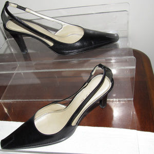 UNISA Black Leather Work Dress Heels Size 8B